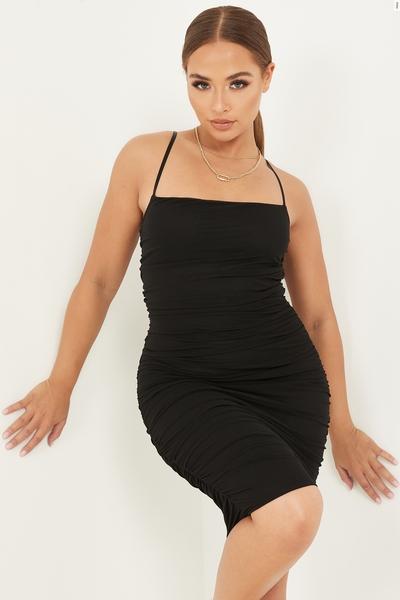 Petite Black Mesh Ruched Midi Dress